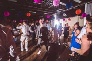 People dancing at Trinity Centre wedding